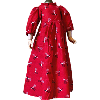 "Antique~ Red Cotton ""Racket print"" Doll dress~"