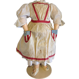 Charming antique Doll Apron~ Red White & Blue~ for large doll