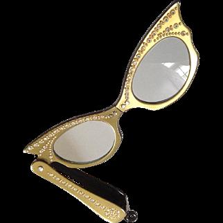 Lucite& Rhinestones~ Cat's Eye  lorgnettes~ folds into pendant 1950's