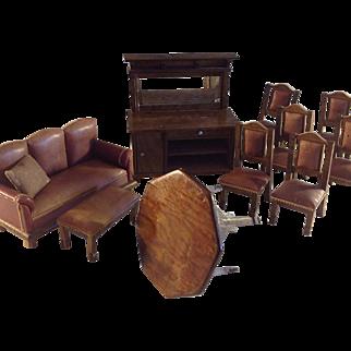 Gentleman's Club Furniture~ Mini~ Leather Upholstered~ Rare Schneegass