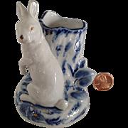 Antique Porcelain Rabbit toothpick /Spill Vase