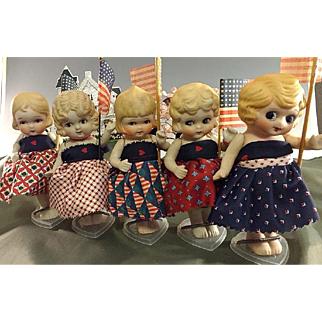 Patriotic Googly Parade~ 5 all bisque 7 inch MIJ dolls ~With Flags