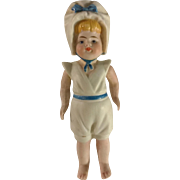 "Early~ all bisque Kestner Girl Sailor doll 4.25"" Mignonette size~ TLC"