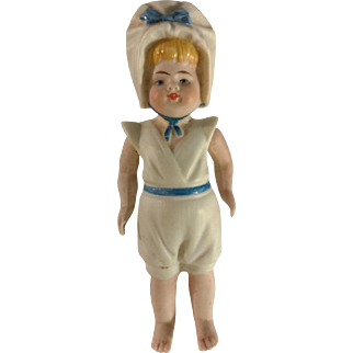 "Early~ all bisque Kestner Girl Sailor doll 4.25"" Mignonette size"