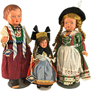 3 Excellent Celluloid Tourist Dolls~ Germany~  Turtle Mark