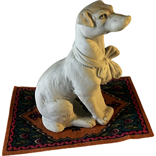 All Bisque~  Hertwig Hound dog~ With Big Bow! 3.5 inches tall