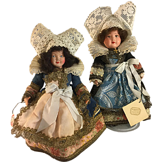 """Au Nain Bleu~ French Dolls 1920~ All Original 8""""~ Celluloid & Painted Bisque"""