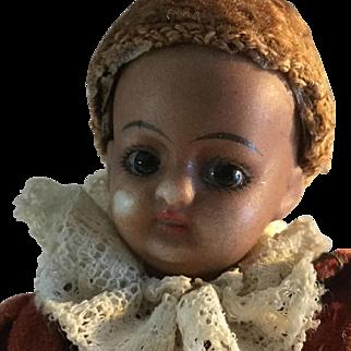 """5 1/4"""", Antique, Mulatto Bisque socket head, Page Boy doll"""