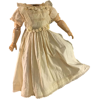 Antique Doll Dress~ Lace Tucks and Roses~18.5 inches long~ Lovely!