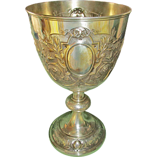 19th C. Massive Silver Chalice, Richard Sibley I, London 1876. 11 inches tall