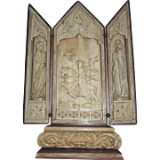 Carved Deer Antler; Gothic Style Folding Altar, 19th C. Continental