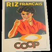 Riz Francaise - Original Circa 1920 Art Deco French Vintage Rice Poster