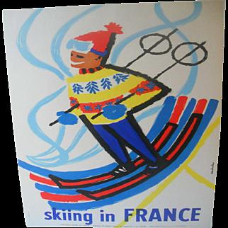 Skiing in France Original French 1959 Ski Poster