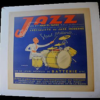 Jazz Musical Instrument Poster Circa 1930