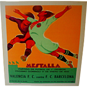 Mestalla Spain Soccer Stadium 1932 Soccer Match Poster