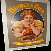 Original Vintage Art Deco Huyben's Bier Dutch Beer Poster