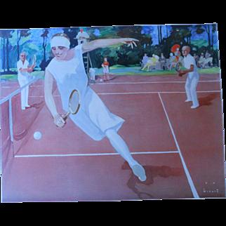 Jupp Wiertz c.1920 Im Turnier Art Deco Tennis Poster