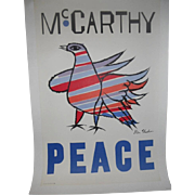 McCarthy Peace Original 1968 Democratic Presidential Primary Poster