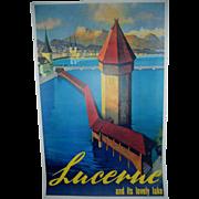Lucerne Switzerland Original Travel Poster