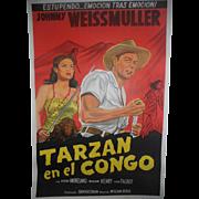 Tarzan en el Congo c.1950 Johnny Weismuller Tarzan Movie Poster