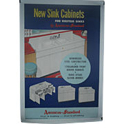 American Standard New Sink Cabinets for Hostess Sinks Advertising Poster 1950