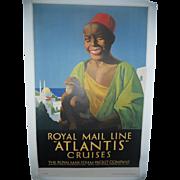 Royal Mail Line Atlantis Cruises c.1935 Lithographic Travel Poster