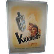Kranebet Liquore 1946 Italian Liquor Poster