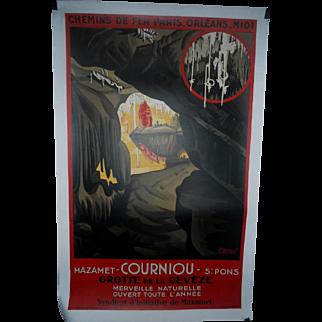 Courniou Grotte de la Deveze c.1930 French Railway Travel Poster