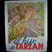 Original Vintage c.1930 El Hijo de Tarzan - The Son of Tarzan Spanish Dubbed Movie Poster