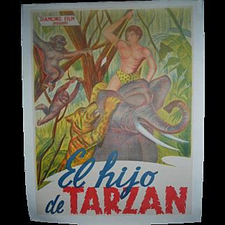 El Hijo de Tarzan - The Son of Tarzan Spanish Dubbed c.1930 Movie Poster