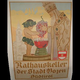 Rathauskeller der Stadt Bozen Sudtirol c.1910 Wine Poster