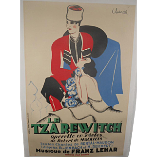 Le Tzarewitch c.1930 Lithographic French Operetta Poster