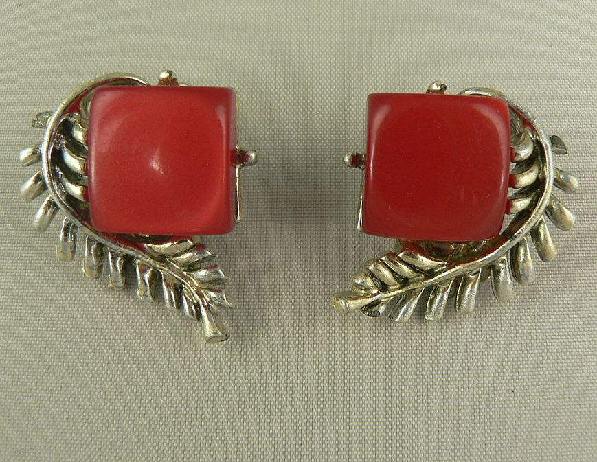 Coro Red Lucite Clip Earrings