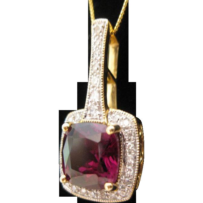 Estate Garnet Diamond Pendant 14kt