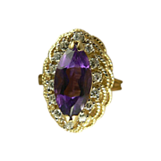 Gorgeous Amethyst Diamond 14kt Ring