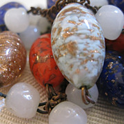 Venetian Art Glass Bead Necklace - 56""