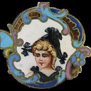 Vintage Enamel Dutch Girl Charm/Pendant