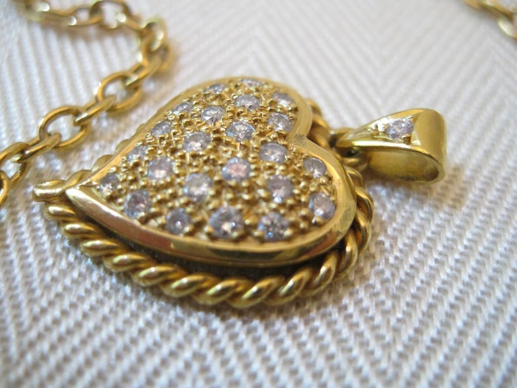 Vintage Diamond 14kt Heart Pendant Necklace from ...