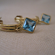 14kt Blue Topaz Hoop Earrings