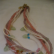 Retro Robert Rose Pastel Bead Torsade Necklace