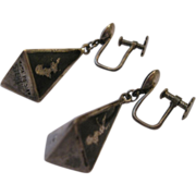 Siam Dangle Earrings - Sterling