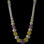 Vintage Seed Pearl Crystal Necklace
