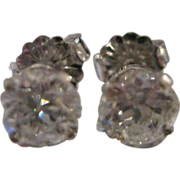 14kt Old European Cut Diamond Earrings