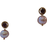 14kt Garnet Pearl Drop Earrings