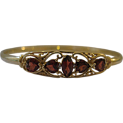 Vintage 14kt Garnet Bangle in Filigree Design