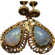 Stunning 18kt Gold Opal Vintage Dangle Earrings