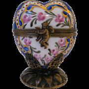 Limoges Heart Shape Perfume Box - Peint main