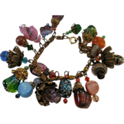 1950's Art Glass Charm Bracelet