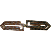 18kt Double Greek Key Brooch in White and Black Diamonds