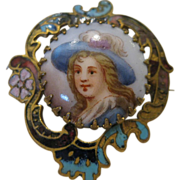 Vintage Enamel Portrait Pin